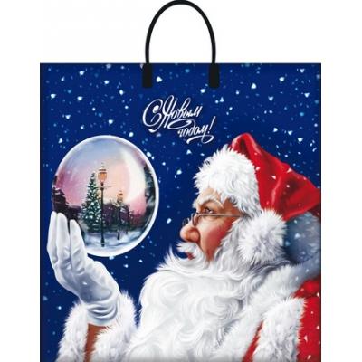 """Новогодний подарочный пакет """"Магический шар"""" 38х35 см, 90мкм, с пластиковыми ручками, новогодняя упаковка"""