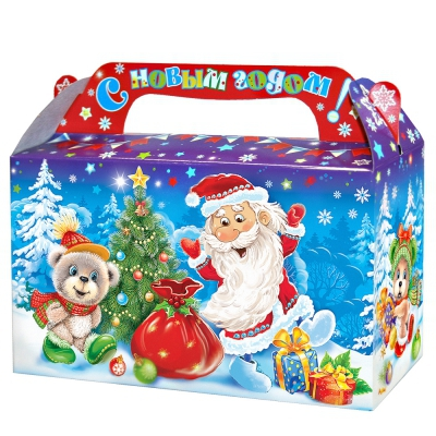 """Новогодняя упаковка """"Зимушка"""" 500 г, картонная подарочная коробка для конфет"""