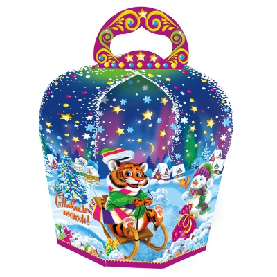 Новогодняя упаковка «Забава» 800 гр, картонная подарочная коробка