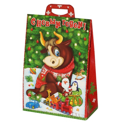 """Подарочная упаковка """"Символ 2.0"""", 2000 гр, картонная новогодняя упаковка 2021 года быка, коровы"""