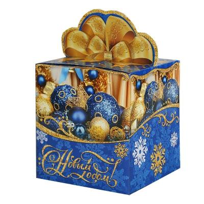 """Подарочная коробка """"Синие шары"""", 300-400 гр, картонная новогодняя упаковка для конфет"""
