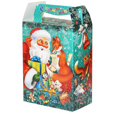 """Новогодняя упаковка """"ДМ и Лиса"""", 1000 гр, картонная подарочная коробка для конфет, детских подарков"""
