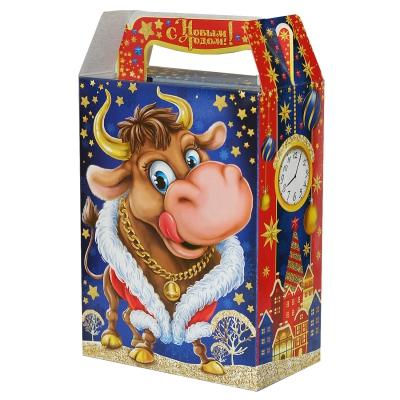 """Новогодняя упаковка """"БЫК"""", 1000 гр, картонная подарочная коробка для конфет, детских подарков"""