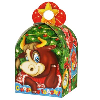 """Подарочная коробка """"Бычок 1.5"""", 1500 гр, картонная новогодняя упаковка 2021 год быка, коровы"""