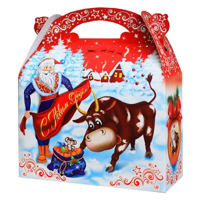 Новогодняя упаковка «КОРРИДА» 1500 гр, картонная подарочная коробка 2021 год быка