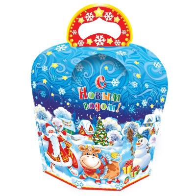 """Новогодняя упаковка """"ХУТОРОК"""", 800 гр, картоннная подарочная коробка для конфет, 2021 год быка"""