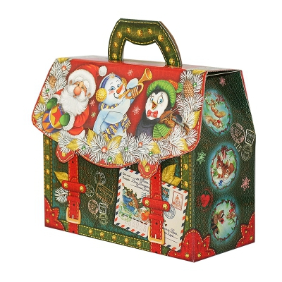 """Новогодняя упаковка """"Новогодний портфель"""", 1600-1800 гр, картонная подарочная коробка для конфет, детских подарков"""