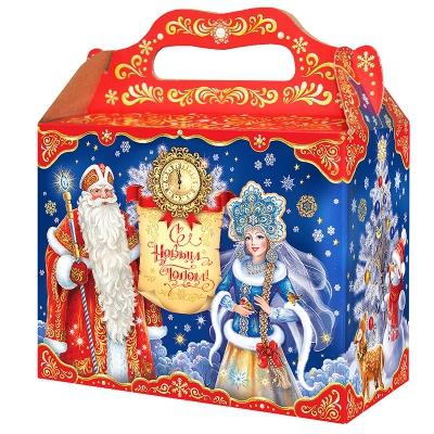 """Подарочная коробка """"Поздравление 2.5"""", 2500 гр, картонная новогодняя упаковка для подарков, конфет"""