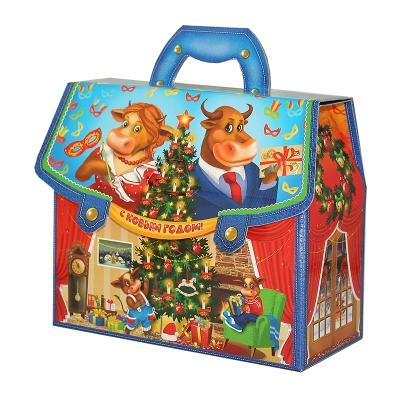 """Новогодняя упаковка """"Портфельчик - Семейка"""", 1600-1800 гр, картонная подарочная коробка для конфет"""