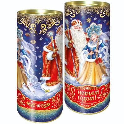 """Подарочные картонные тубы """"Вечерок 1.5"""" 1500 гр, новогодняя упаковка для конфет"""