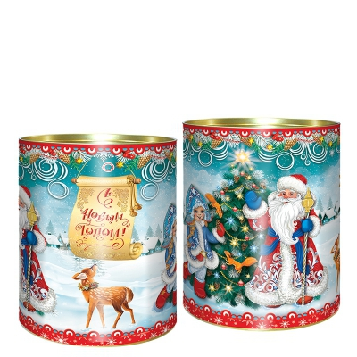 """Подарочные картонные тубы """"Морозко"""" 700 гр, новогодняя упаковка для конфет, тубусы"""