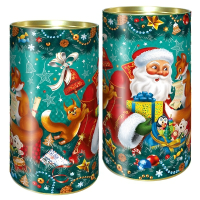 """Подарочные картонные тубы """"Дед мороз и лиса"""" 1000 гр, новогодние тубусы для упаковки конфет"""