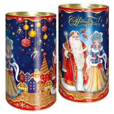 """Подарочные картонные тубы """"Вечерок 1.0"""" 1000 гр, новогодняя упаковка для конфет"""