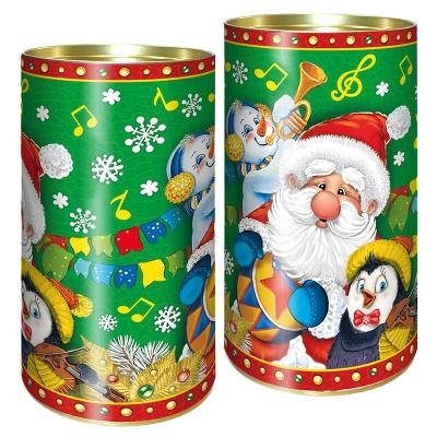 """Подарочные картонные тубы """"Оркестр"""" 1000 гр, новогодняя упаковка для конфет, тубусы"""