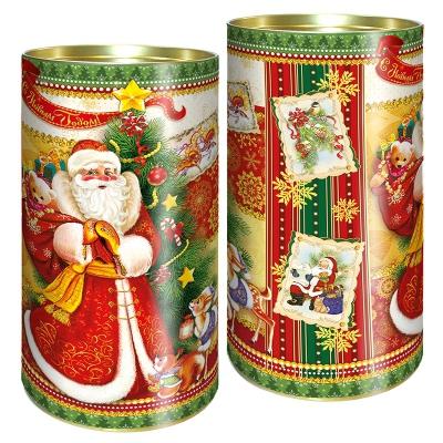 """Подарочные картонные тубы """"Ретро"""" 1000 гр, новогодняя упаковка для конфет, тубусы"""