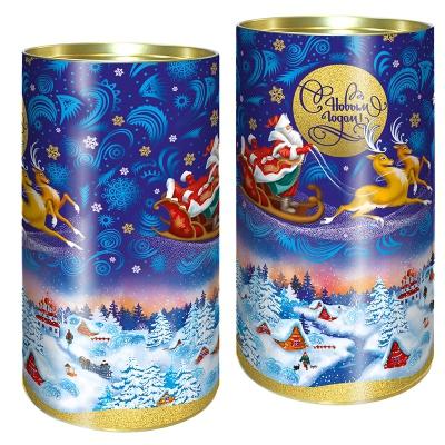 """Подарочные картонные тубы """"Зима"""" 1000 гр, новогодняя упаковка для конфет, тубусы"""