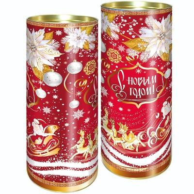 """Подарочные картонные тубы """"Узорная"""" 1500 гр, новогодняя упаковка тубус"""