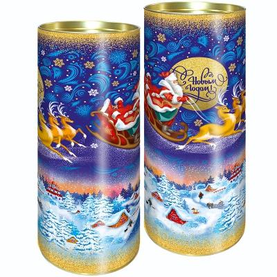 """Подарочные картонные тубы """"Зима"""" 1500 гр, новогодняя упаковка"""